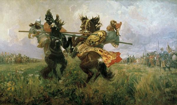 8-сент-Васнецов-битва пересвета и челубея перед куликовской битвой