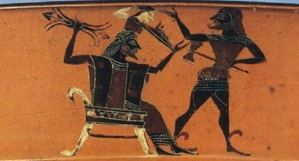 рождение Афины из головы Зевса, в его руках ваджра. - 550 г до н.э.