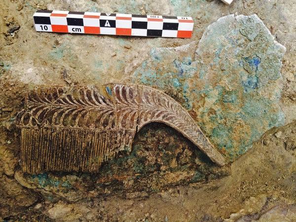 могила-воина-грифона-Расческа из слоновой кости.