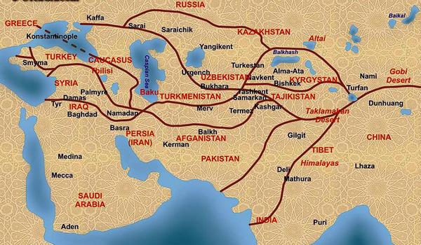 Каффа (Феодосия) была крупным портом Великого Шёлкового пути. (на карте Каффа изображена на месте Азова Азак (XIII—XIV вв.), Тана (XV—XVI вв.)