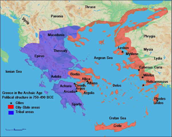 карта-ancient Greece in the Archaic and Classical periods