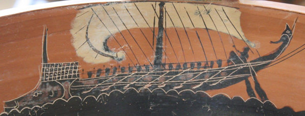 Греческое судно, на  Кратере, 6 в до н.э.