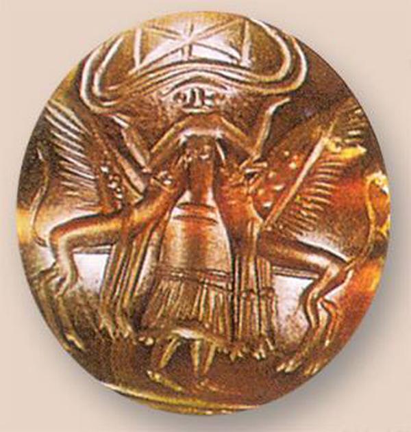 богиня между двумя грифонами, 1650-1450 до Н.Э. -оникс-перстень