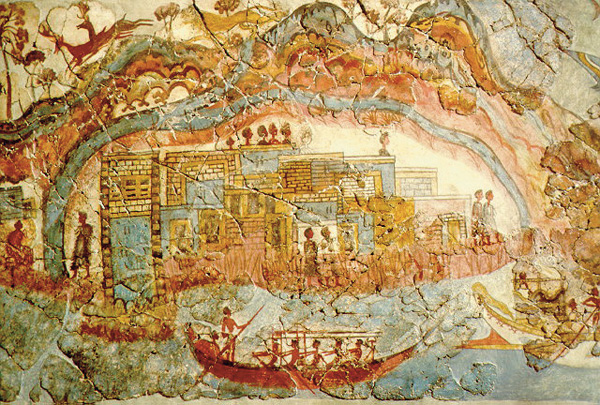 корабли-фреска-Akrotiri minoan town