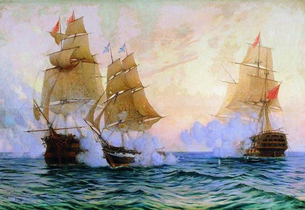 """26 мая 1829 г сражение брига """"Меркурий"""" с двумя турецкими линейным кораблями"""