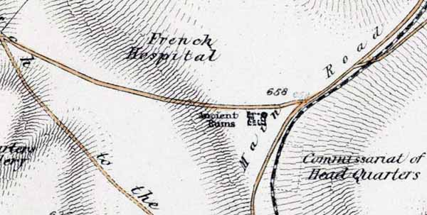 Английская карта с указанием места раскопок Манро