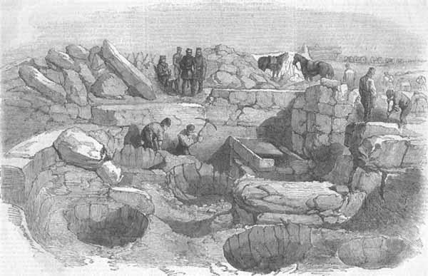 Гравюра XIX в. с изображением раскопок Манро.