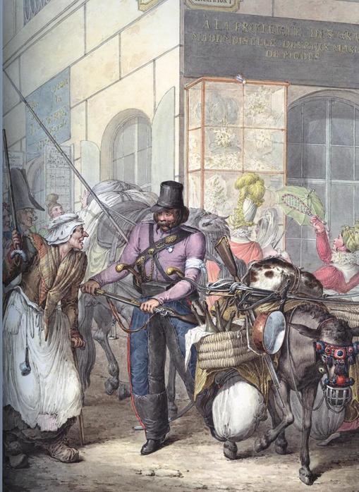 Казак спорит со старой парижанкой на углу улицы