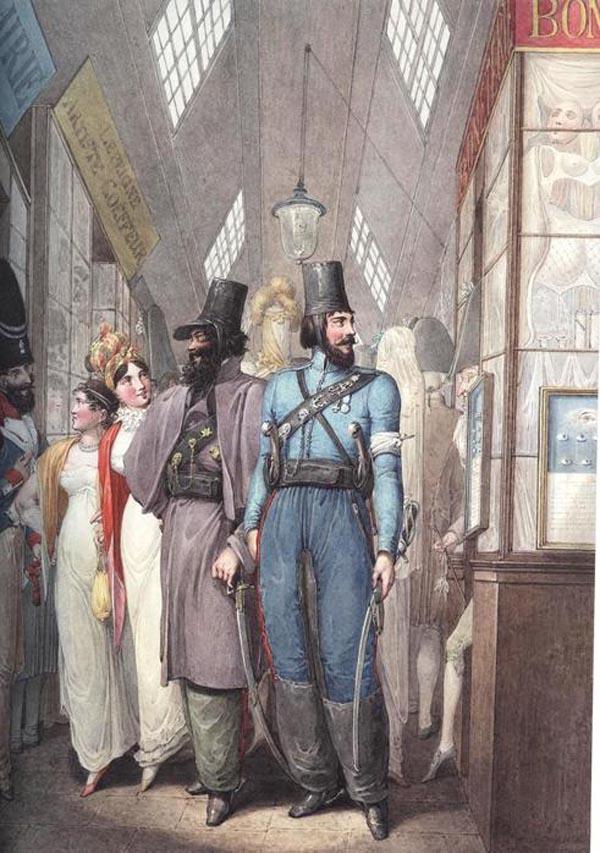 Прогулка казаков по галерее с лавками и магазинчиками.