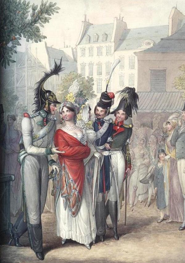 австрийский офицер, казак и русский офицер прогуливаются с француженками