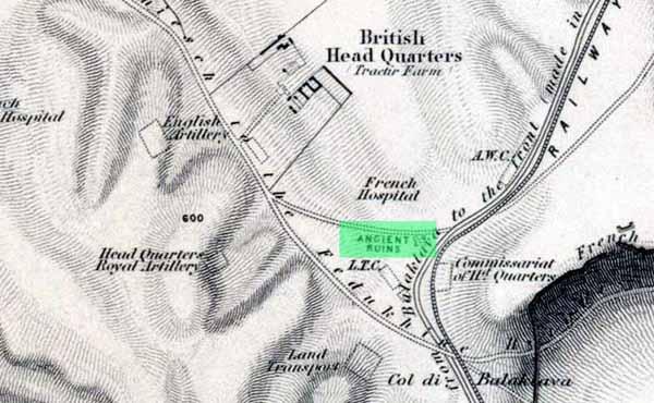 Английская карта с указанием места раскопок Манро. Отчётливо указано место раскопок.