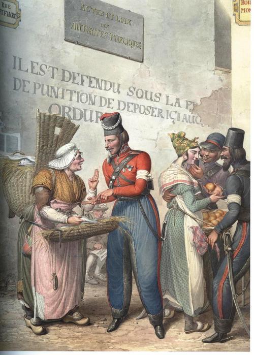 казаки и торговки рыбой и яблоками.