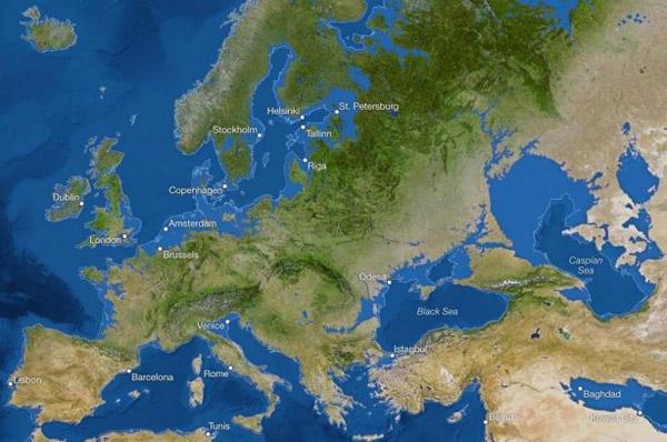 1уровень моря -Европа