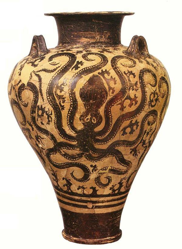 1500 г. до н.э. амфора осминогами. Крит, минойская культура.