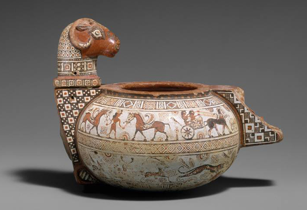 600 в. до н.э.-чаша с бараном - Пегасы и колесница -
