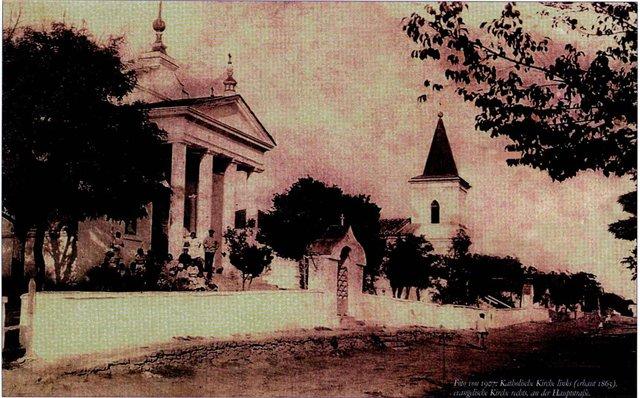 Kronental_1907 г. Кроненталь, 1907 год. Католический и лютеранский собор