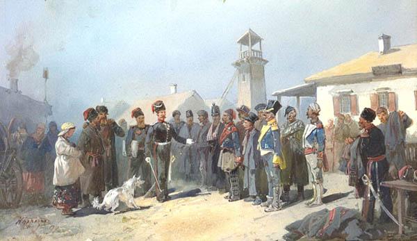 Зачислен. в казаки пленных поляков армии Наполеона, 1813 г. Рис. Н. Н. Каразина