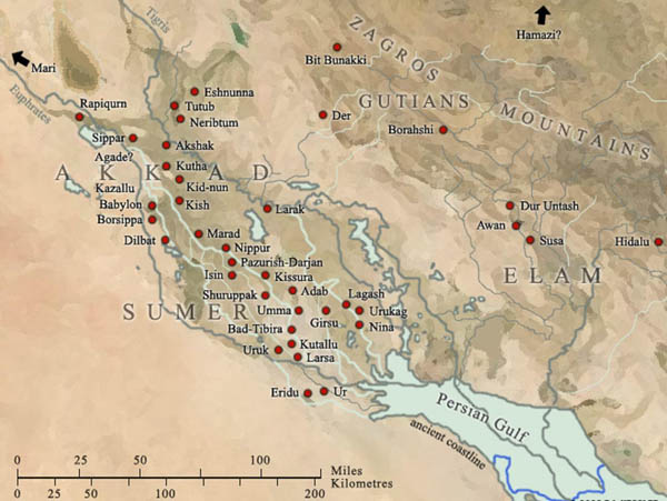 карта-Mesopotamia_city_states_uruk_Elam_Larsa_Akkad