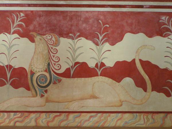 фреска-лев-грифон-в Knossos-трон-зал