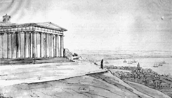 Керченский музей древностей. Гравюра XIX в. храм на горе митридат