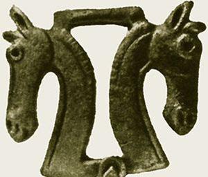 кони-бронзовая пряжка, Тагискен