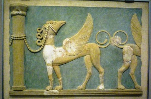 1600-1450 до н.э.-крылатые грифоны-дворца в Кноссе. Крит.