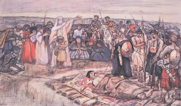 Княгиня Ольга встречает тело князя Игоря-1915-суриков