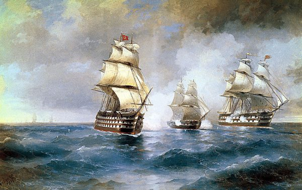 1-Aivazovsky, Brig Mercury Attacked by Two Turkish Ships 1892