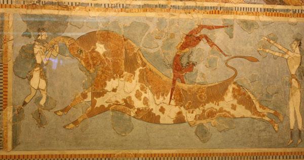 бык-Минос. таврокатапсия фреска, Кносский, 1450-1400 до н.э.