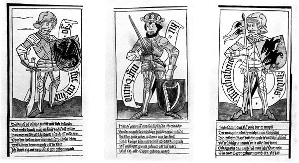 Die_neun_Helden_-_Drei_juedische_Helden.-3 честных иудея — Иисус Навин, Давид и Иуда Маккавей