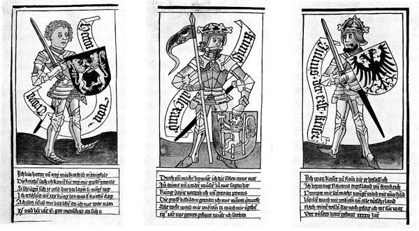 Die_neun_Helden_3 праведных язычника-_Гектор, Александр Великий и Юлий Цезарь,