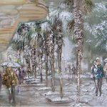 Зимняя Ялта в живописи Оксаны Исайченко.