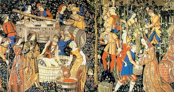 Гобелен начала XVI века, на котором изображены сцены сбора винограда и производства вина.