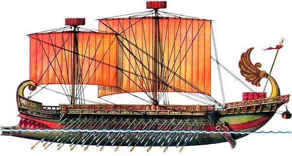 01-военное судно типа биремы, с двумя рядами вёсел