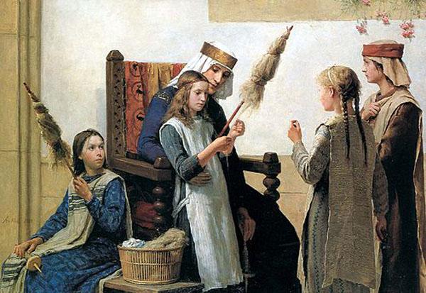 01-Reine_Berthe_et_les_fileueses,_1888