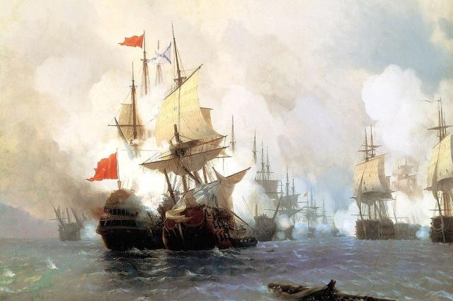 Айвазовский. Бой в Хиосском проливе 24 июня 1770 года.