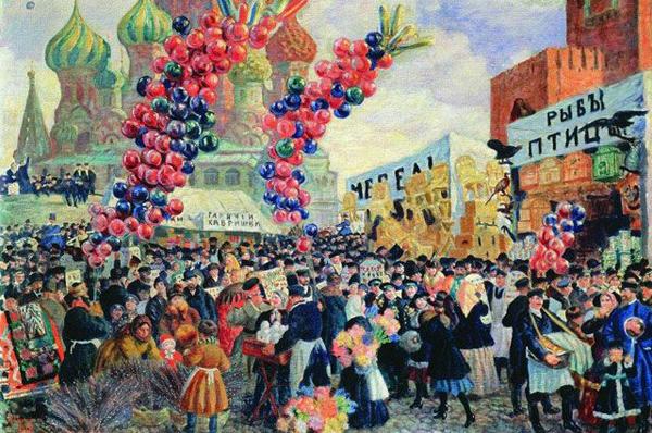 0-Вербный торг у Спасских ворот на Красной площади в Москве