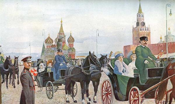 Владимир Россинский — Катание в Вербное воскресенье на Красной площади, 1910-е годы.