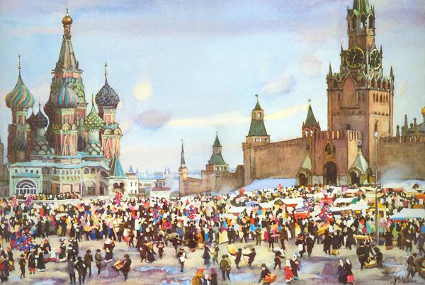 Константин Юон — Вербный базар на Красной площади. 1916 г.