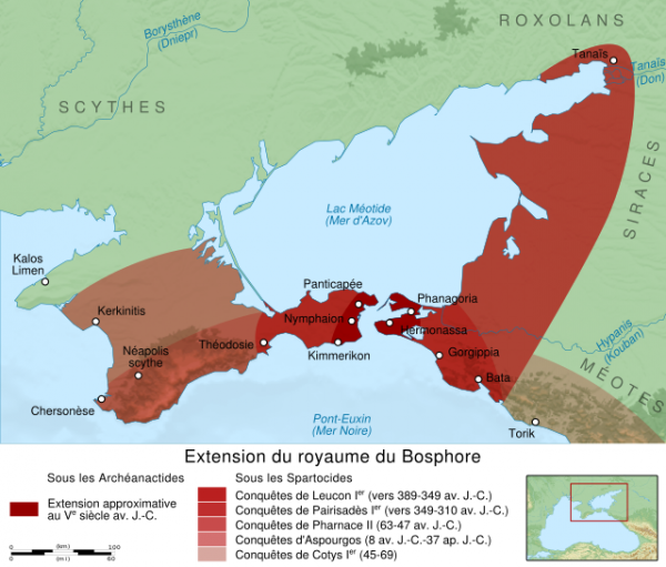 Карта-Крым-Боспорского царства.