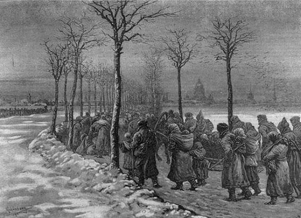 Голодающие идут в Санкт-Петербург.