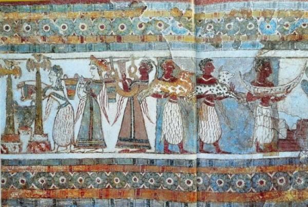 Фреска на саркофаге из Агиа Триады обряд жертвоприношения собак