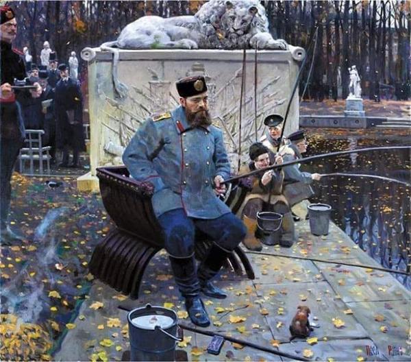 Художник Павел Рыженко.  Александр III на рыбалке