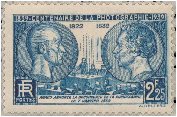 7 января 1839 г. Араго объявляет о фотографии/ Юбилейная марка - 1939