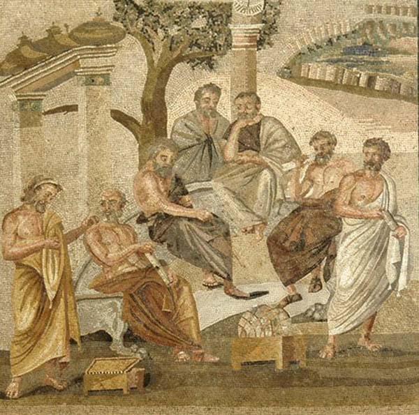 Академия Платона, изображенная в мозаичном стиле, из Помпеи.