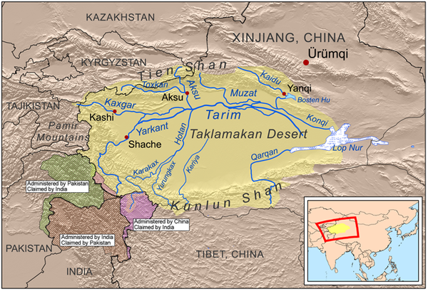 Карта бассейна реки Тарим и пустыни Такла-Макан