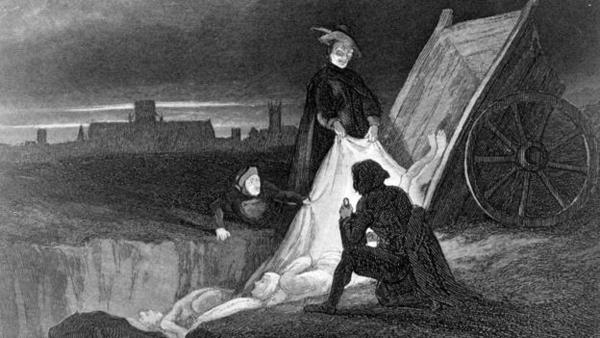 Трупы сбрасывают в чумную могилу (иллюстрция 1885 года)