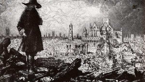 Правообладатель иллюстрации Bettmann Image caption Лондон после чумы и пожара 1666 года. Иллюстрация