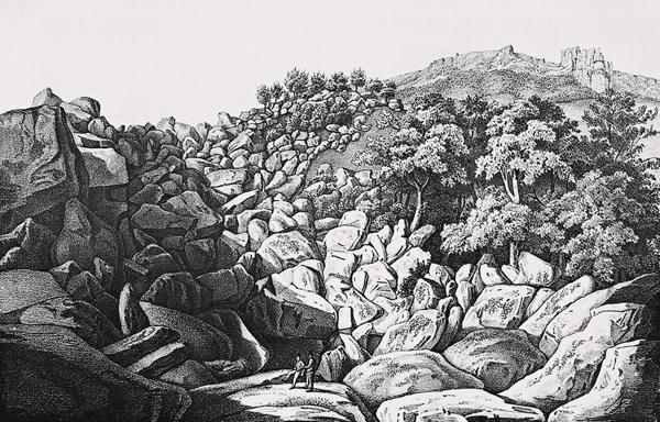 Ф. Дюбуа де Монпере. Диабазовый кратер и сады графа М.С. Воронцова в Алупке. 1832-1834 гг.