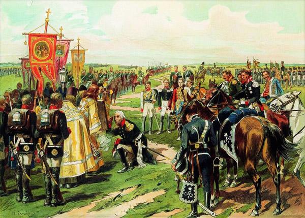 Кутузов перед битвой при Бородино.литография Н.С. Самокиша
